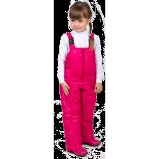 Детский утепленный полукомбинезон из мягкой курточной глянцевой ткани, цвет -фуксия