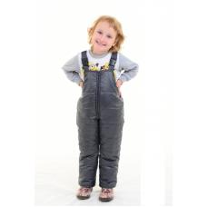 Детский утепленный полукомбинезон из мягкой курточной глянцевой ткани, цвет - серый