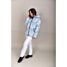 Костюм утепленный женский (голубой оригами куртка , белые брюки)