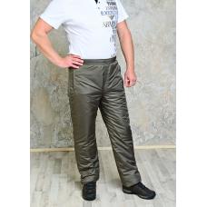 Утепленные синтепоном мужские брюки на поясе- резинка, цвет-хаки