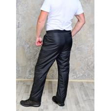 Утепленные синтепоном мужские брюки на поясе- резинка, цвет - черный