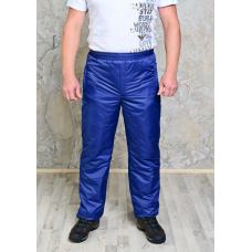 Утепленные синтепоном мужские брюки на поясе- резинка,  цвет-синий
