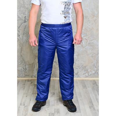 Утепленные синтепоном мужские брюки на поясе- резинка,  цвет-темно-синий