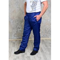 Утепленные синтепоном мужские брюки на поясе- молния, цвет- синий