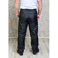 Утепленные синтепоном мужские брюки на поясе- молния, цвет- черный