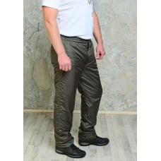 Утепленные синтепоном мужские брюки на поясе- молния, цвет- хаки