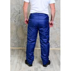 Утепленные флисом мужские брюки на поясе молния, цвет-синий
