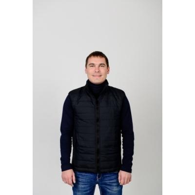 Утепленный мужской жилет без капюшона,цвет-черный