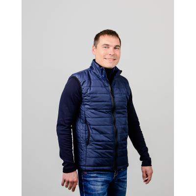 Утепленный мужской жилет без капюшона,цвет-синий