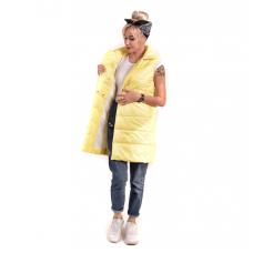 Утепленный жилет с отложным воротником, цвет-желтый