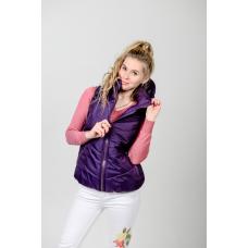 Жилет женский с капюшоном, цвет-фиолетовый