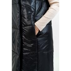 Длинный женский  жилет с воротником стойкой, цвет-черный