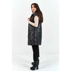 Удлиненный стеганный женский жилет с капюшоном и рукавами, цвет -черный