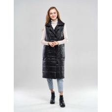 Удлиненный женский  жилет с накладными карманами, цвет-черный