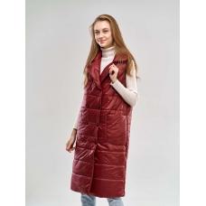 Удлиненный женский  жилет с накладными карманами, цвет-бордо