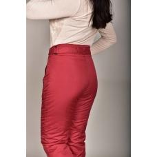 Утепленные женские брюки с высокой спинкой, цвет- красный