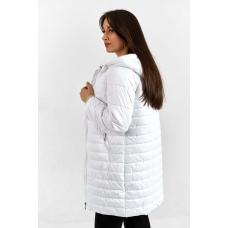 Демисезонное  пальто  с капюшоном, цвет - белый