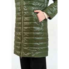 Демисезонное  пальто  с капюшоном, цвет - хаки