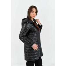 Демисезонное  пальто  с капюшоном, цвет - черный