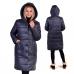 Пальто зимнее с объёмным капюшоном и с накладными карманами, цвет-индиго