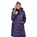 Пальто зимнее с объёмным капюшоном и с накладными карманами, цвет-баклажан
