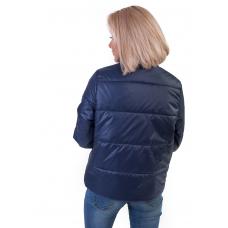Утепленная  женская куртка с обьемным карманом,  цвет - синий