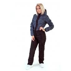 Зимний женский комбинезон, основной цвет- черный, принт -синий