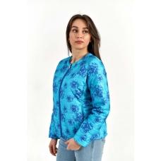 Жакет утепленный без воротника, цвет-голубые цветы
