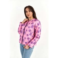 Жакет утепленный без воротника, цвет-ярко-розовые цветы
