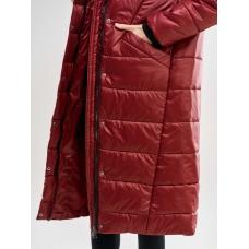 Длинное женское пальто  для еврозимы, цвет-бордовый
