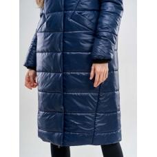 Длинное женское пальто  для еврозимы, цвет-синий
