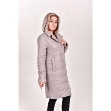 Пальто демисезонное  с  отложным воротником, цвет-бежевый