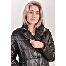 Пальто демисезонное  с  отложным воротником, цвет-черный