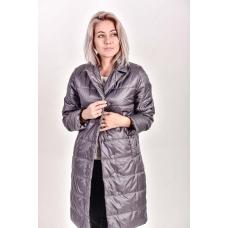 Пальто демисезонное  с  отложным воротником, цвет-эскалибур
