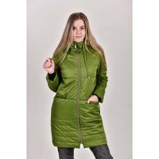 Пальто женское  с  капюшоном. цвет-зеленый