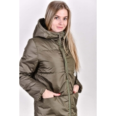 Пальто женское  с  капюшоном,  цвет- хаки