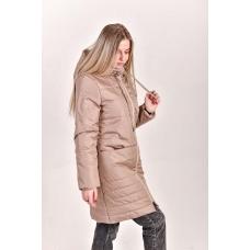 Пальто женское  с  капюшоном, цвет-бежевый