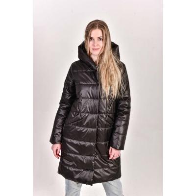 Пальто женское с  капюшоном, цвет-черный