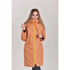 Пальто женское  с  капюшоном, цвет-горчичный