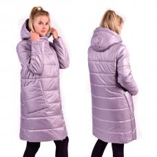 Пальто зимнее с объёмным капюшоном и с накладными карманами, цвет-лиловый