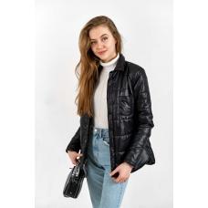 Утепленная  женская куртка-рубашка,цвет-черный