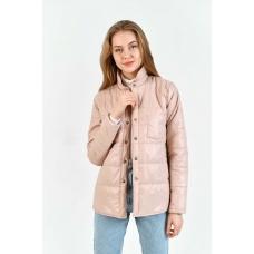 Утепленная  женская куртка-рубашка,цвет-пудровый