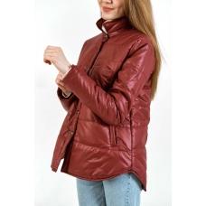 Утепленная  женская куртка-рубашка,цвет-бордовый