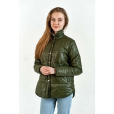 Утепленная  женская куртка-рубашка,цвет-хаки