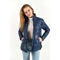 Утепленная  женская куртка-рубашка,цвет-синий