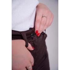 Утепленные женские брюки на поясе-молния, цвет -шоколад