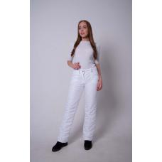 Утепленные женские брюки на поясе-молния, цвет -белый