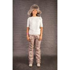 Утепленные женские брюки на поясе-резинке, цвет - капучино