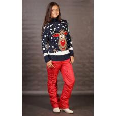 Утепленные женские брюки на поясе-резинке,цвет - красный