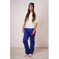 Утепленные женские брюки на поясе-резинке,цвет - синий